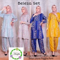 baju setelan wanita muslim bahan katun adem baju santai muslim-beleza