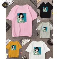 Baju Atasan Kaos tumblr Pose Girl tee wanita oneck size L & XL