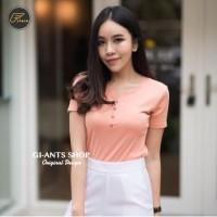 Kaos atasan baju wanita polos basic model V neck kancing size fit L