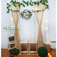 Dekorasi Lamaran Backdrop Nikahan PhotoBooth DIY Paket Pesta Mulia B - Gold