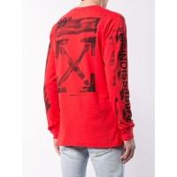 ⭕️ Off White SS19 Stencil Arrow Long Sleeve T-shirt -Red - Merah, XS
