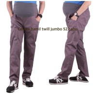 Celana hamil twill jumbo Cantik OH 522 baju hamil - abu tua, allsize
