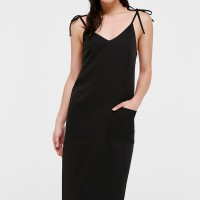 Whitney Ribbon Tie Camisole Dress - Black