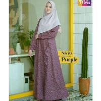 Gamis Nibras Syar'i NS 70 Ungu Motif Bunga Dress Casual Cantik Premium