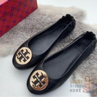 Sepatu TORY BURCH Flat Shoes Minnie Travel Ballet Black Gold ORIGINAL