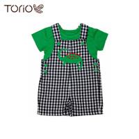 Baju Anak Laki-Laki Torio Dino Squares Overall Set