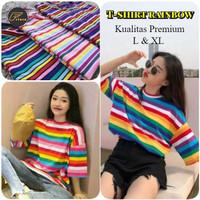 Baju atasan Candy Sweet Rainbow kaos garis oneck size L & XL premium