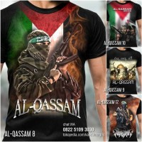 Baju KAOS PALESTINA Brigade AL-QASSAM   Kaos Pejuang Muslim PREMIUM