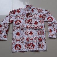 Seragam Sekolah Baju SD Batik Merah Lengan Panjang