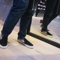 SEPATU VANS SLIP ON SIDEWALL CHECKERBOARD BLACK WHITE