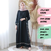 ZELA MAXI BORDIR Baju Atasan Muslim Wanita Gamis Dress Fashion Muslim