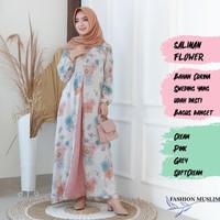 SALINAN FLOWER Baju Atasan Muslim Wanita Gamis Dress Fashion Wanita