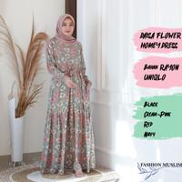 DAISA FLOWER HOMEY DRESS Baju Atasan Muslim Wanita Gamis Dress Wanita
