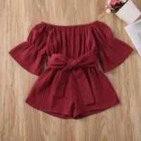 Romper baju anak perempuan merah maroon pita pinggang imut