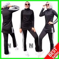 019 Setelan Senam Wanita Celana Baju Lengan Panjang Olahraga Muslimah