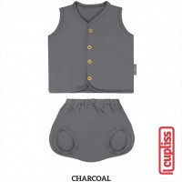 Charcoal Little Palmerhaus Button Tee Sleeveless Baju Bayi Kancing