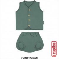 Forest Green Little Palmerhaus Button Tee Sleeveless Baju Bayi Kancing