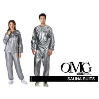 Baju Sauna Suit OMG Jaket Celana Olah Raga Pria Wanita - Perak, XXL