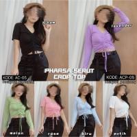 Baju crop top Pharsa Serut bahan spandex size fit L