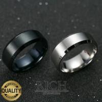 Cincin Titanium Pria Cincin Pria Titanium Black SIlver - Hitam, 6 - 5, Perak