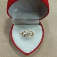 cincin mata putih miring 2 baris 1 gram emas muda