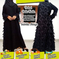 Abaya gamis hitam arab jetblack DUBAI BULU KUDA