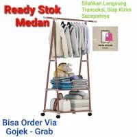 Rak Gantung Baju Segitiga Stand Hanger Triangle 4 Roda Murah Medan