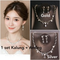 Perhiasan set pesta kalung dan anting JS15