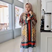 Atasan Wanita Tunik Cewek Kekinian Baju Muslimah Dress Scuba Import