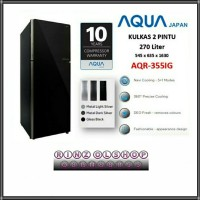 KULKAS AQUA JAPAN AQR-355IG INVERTER 2 PINTU GLASS DOOR NAVI COOLING