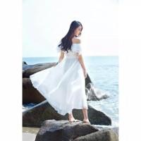 Dress Putih Panjang | Dress Sabrina Dewasa | Baju Pantai Wanita Fr