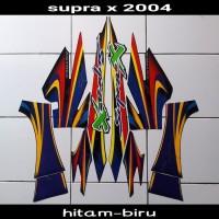 sticker striping body lis motor supra x 2004 hitam-biru