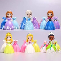 Figure set 6 princess elsa ana sofia Tatiana belle asesoris baju