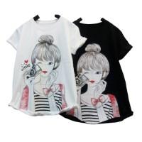 CentCentStore T-shirt / Kaos Wanita Morning Selfie Girl - Hitam, L