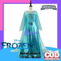 Dress Kostum Anak Elsa Frozen Gaun Baju Princess Perempuan Impor Toska