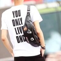 Tas Selempang Kulit Pria Bahu Murah sling bag Waist Bag import 227
