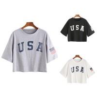 CentCentStore T-shirt / Kaos Wanita Crop Top AMERICAN USA -