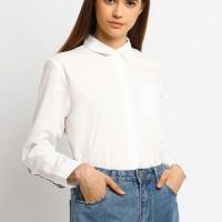 Osella Baju Perempuan Kemeja Lengan Panjang Polos White Stipe Back