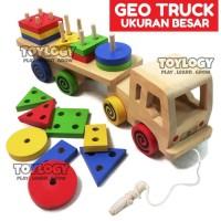 Mainan Edukasi Anak Geo Truck Besar Balok Kayu Shape Truk Bentuk