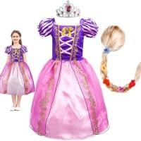 Terbaru Baju Princess Rapunzel + Wig+ Mahkota Terlaris