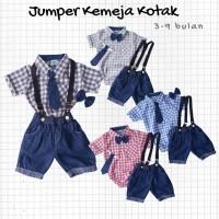 Baju Setelan Anak Bayi Laki Jumper Kemeja Kotak Celana Denim Suspender