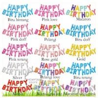 SET Balon Foil Huruf Happy Birthday Ulang Tahun isi 13 Huruf