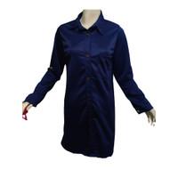 Tunik Kancing Jumbo Termurah / Kemeja Panjang Polos / Atasan Wanita - Biru