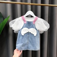 Dress anak bayi perempuan overall rok jeans + dalaman kaos lengan