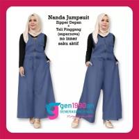 Setelan Baju dan Celana Panjang Jumpsuit Wanita Muslim NANDA JUMPSUIT - Blue, XL