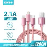 Kivee Kabel Data 3-IN-1 Micro USB Type-C IOS Apple Fast Charging 2.1A