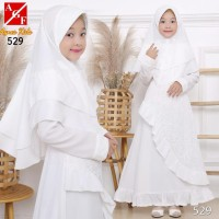 New AGNES Gamis Putih Anak Perempuan Baju Busana Muslim Brukat Syari