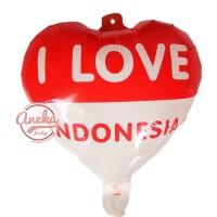 balon foil love merah putih / balon HUT RI / balon 17 agustus 40 cm /