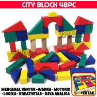 Mainan Edukasi Anak City Block Kayu Balok Warna Susun Blok Bangun Box