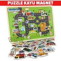 Mainan Anak Puzzle Kayu Papan Magnet Transportasi Lalu Lintas Traffic